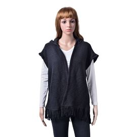 Texture Knitted Black Cardigan (Size 60x55 Cm)