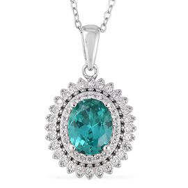 ELANZA Simulated Emerald (Ovl), Simulated Diamond Pendant With Chain (Size 18) in Rhodium Overlay St