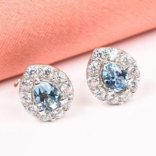 One time Deal - Santa Maria Aquamarine (Pear), Natural Cambodian Zircon Lever Back Earrings (with Push Back) in Platinum Overlay Sterling Silver 1.000 Ct.