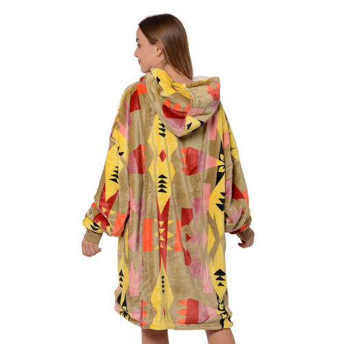 Tribal Pattern Flannel Blanket Hooded Sweatshirt (Size 85x90cm) with Long Sleeves - Gold, Yellow and Multi Colour