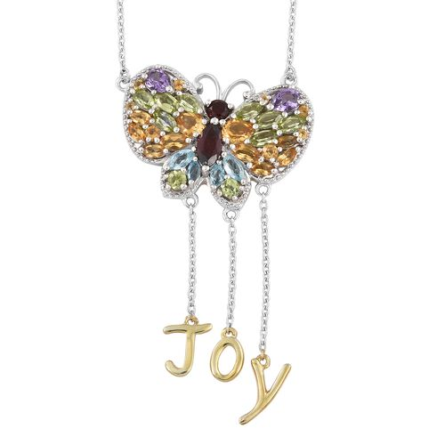 GP Mozambique Garnet, Amethyst, Citrine and Multi Gemstone Butterfly with Joy Necklace (Size 18 + 2