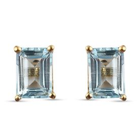 Blue Topaz Earrings (with Push Back) in 14K Gold Overlay Sterling Silver 2.61 Ct.