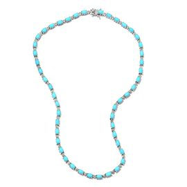 Arizona Sleeping Beauty Turquoise (Ovl), Diamond Necklace (Size 18) in Platinum Overlay Sterling Sil