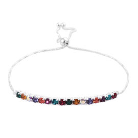 J Francis -Crystal from Swarovski Multi Colour Crystal (Rnd) Bracelet (Size 9.5 Adjustable) in Sterl