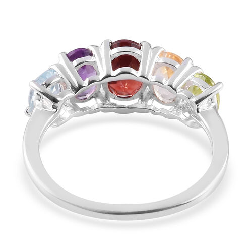 Mozambique Garnet, Amethyst and Multi Gemstone Five Stone Ring in Sterling Silver Ring 2.30 Ct.