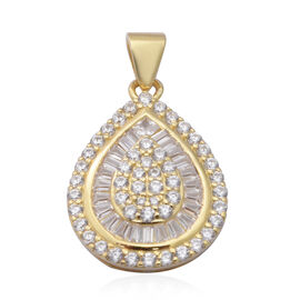 ELANZA AAA Simulated Diamond Pendant in Yellow Gold Overlay Sterling Silver