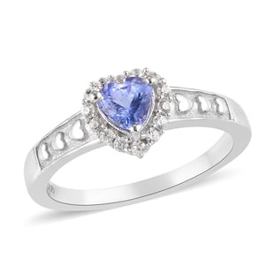 Tanzanite and Natural Cambodian Zircon Heart Ring in Platinum Overlay Sterling Silver