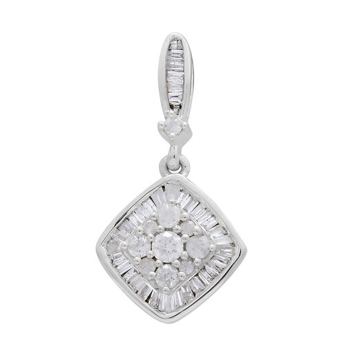 9K White Gold SGL Certified Diamond (Rnd) (I3 G-H) Cluster Pendant 0.500 Ct.
