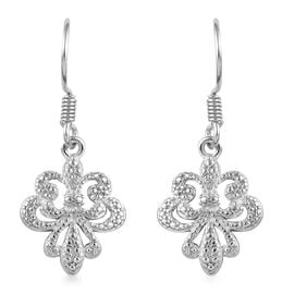 Diamond Fleur de Lis Earrings with Hook in Platinum Plated Sterling Silver