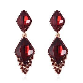 Simulated Garnet and Red Austrian Crystal Dangle Earrings (with Push Back) in Yellow Gold Tone