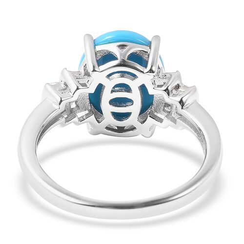 Arizona Sleeping Beauty Turquoise (Ovl 11x9mm), Natural Diamond Ring in Rhodium Overlay Sterling Silver 2.70 Ct.