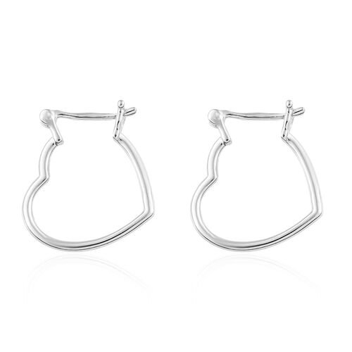 RHAPSODY 950 Platinum Heart Earrings (with Clasp)