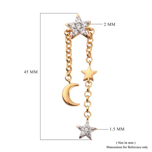 Natural Cambodian Zircon Moon Star Dangle Earrings (with Push Back) in 14K Gold Overlay Sterling Silver 0.75 Ct.