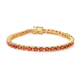 9.66 Ct Orange Sapphire Tennis Bracelet in Gold Plated Silver 8.40 Grams 7.5 Inch