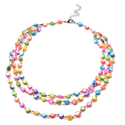 Simulated Champagne Diamond and Multi Gemstone Beaded Necklace (Size 22 with 2 inch Extender) in Sil