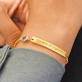 Personalise Engraved Bar and Birthstone Bracelet