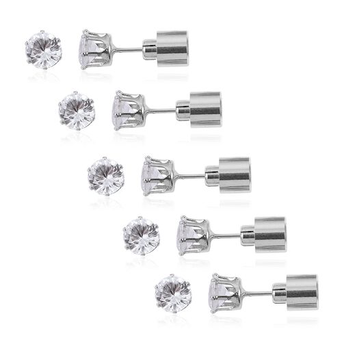 TJC Launch- Set of 5 - White Austrian Crystal LED Stud Earrings (with Push Back)