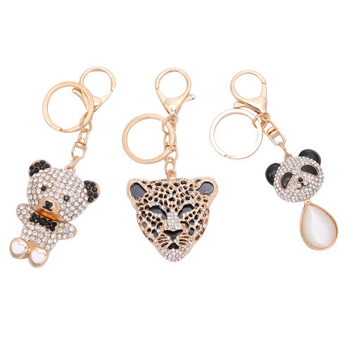 3 Piece Set - White Cats Eye, Black and White Austrian Crystal Panda, Bear and Tiger Head Enamelled