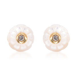 Galatea Pearl - Star in a Pearl- Carved Freshwater White Pearl and Natural Cambodian Zircon Stud Ear