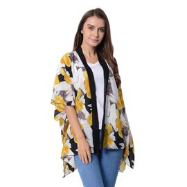 Designer Inspired-Yellow and White Colour Flower Pattern Kimono (Size 95x70 Cm)