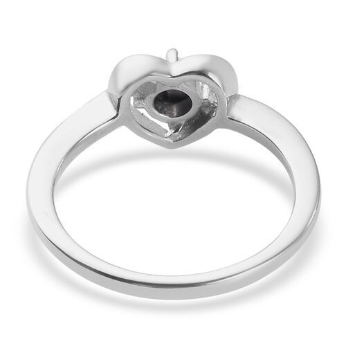 Diamond Heart Ring in Platinum Overlay Sterling Silver 0.01 Ct.