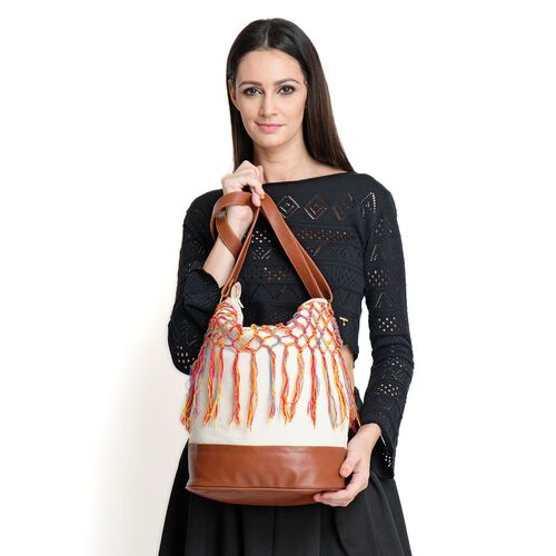 White and Chocolate Colour Cotton Bucket Bag with Multi Colour Tassel and Adjustable Shoulder Strap (Size 35x35x16 Cm)