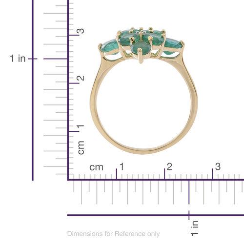 9K Yellow Gold AAA Kagem Zambian Emerald (Rnd), Natural White Cambodian Zircon Ring 2.500 Ct.