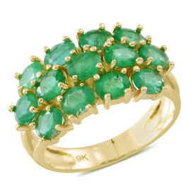 4 Carat Zambian Emerald Cluster Ring in 9K Gold 4.75 Grams