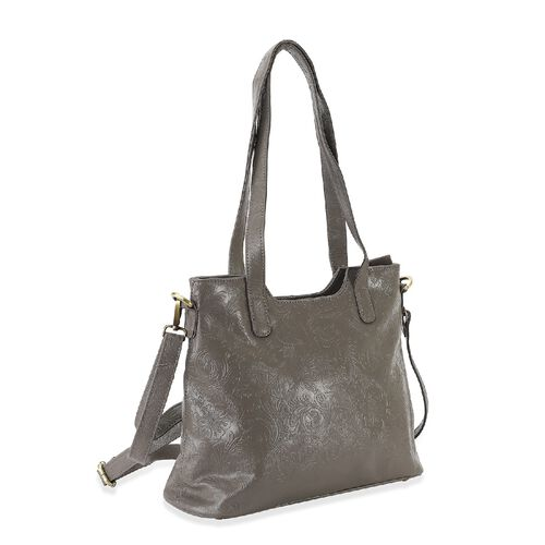 Limited Edition- 100% Genuine Leather Tote Bag with Detachable Strap and Zipper Closure (Size 32x26x11 Cm) - Grey