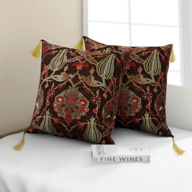 Set of 2 -  Turkish Handmade Cushion Covers with Zipper Closure (Size 45.72x45.72 cm) - Brown