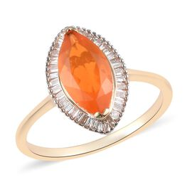 9K Yellow Gold Jalisco Fire Opal and White Diamond Halo Ring 1.35 Ct.