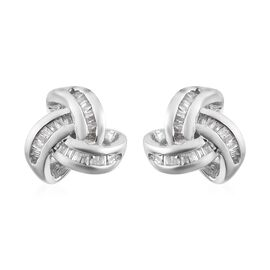 Diamond (Bgt) Triple Knot Stud Earrings (with Push Back) in Platinum Overlay Sterling Silver 0.25 Ct.