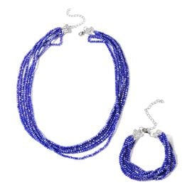 2 Piece Set - Blue Sapphire Colour Beads and White Austrian Crystal Multi Row Necklace (Size 20 with