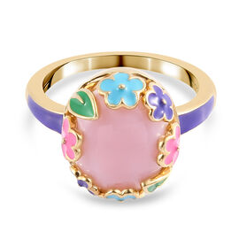 GP Italian Garden Leaf and Flower - Pink Opal and Blue Sapphire Enamelled Ring in 14K Gold Overlay S