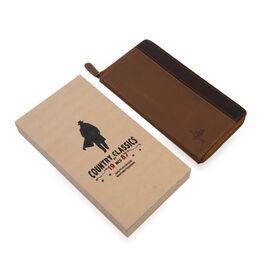 MCS Country Classics: 100% Genuine Leather Full Zip Two Tone Ladies Purse - Cognac/Dark Brown