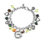 STRADA Japanese Movement Multi Colour Murano Beads Water Resistant Adjustable Charms Bracelet Watch