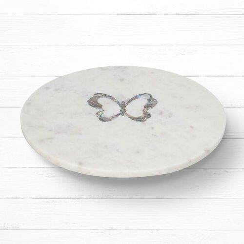 NAKKASHI - Round Marble Lazy Susan Tray with Abalone Inlay Butterfly Motif