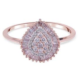 9K Rose Gold  White Diamond, Pink Diamond Ring in Rhodium Overlay 0.50 ct,  Gold Wt. 2.6 Gms (Size W