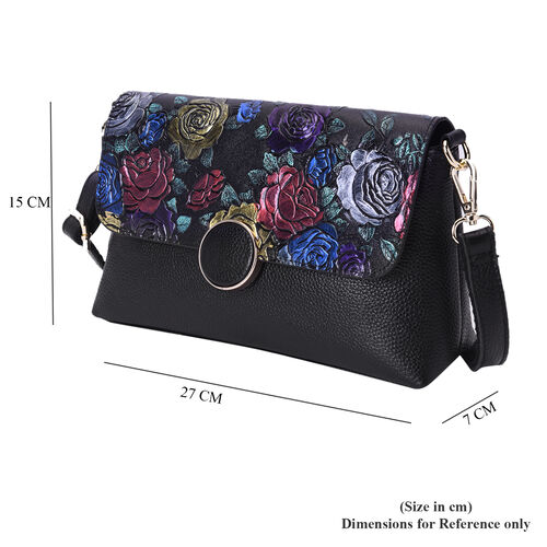 100% Genuine Leather Multi Colour Floral Embossed Pattern Crossbody Bag (25x18x7cm) with Magnetic Closure in Black