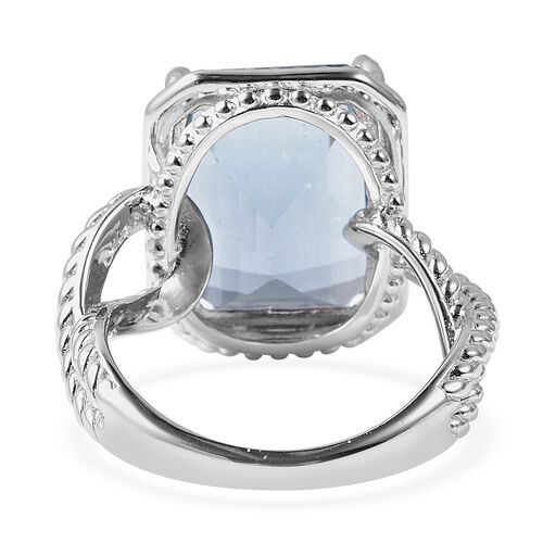 Close Out Deal - Teal Fluorite (Oct 16x12 mm) Solitaire Ring in Rhodium Overlay Sterling Silver 14.250 Ct., Silver Wt. 5.80 Gms
