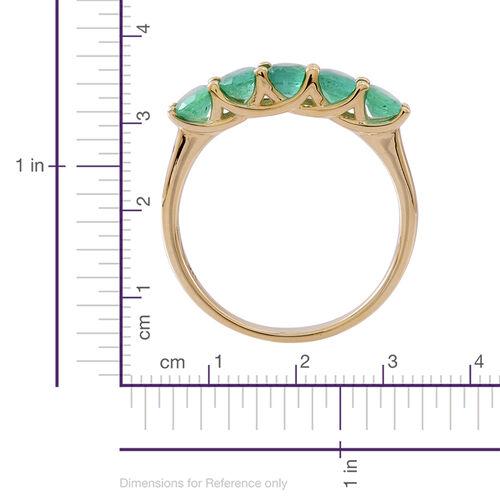 9K Yellow Gold AAA Kagem Zambian Emerald (Ovl) 5 Stone Ring 1.500 Ct.
