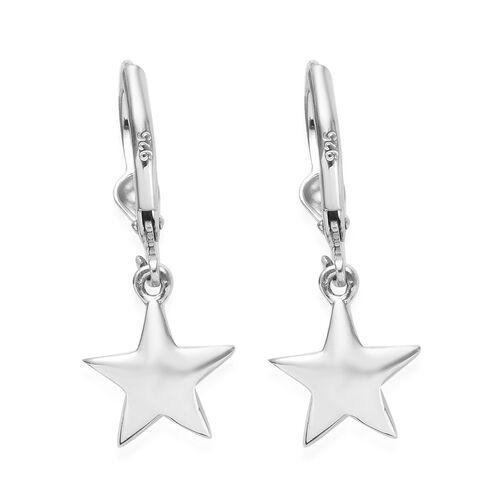 Platinum Overlay Sterling Silver Star Lever Back Earrings