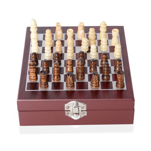 Chess Wine Tools Set - Foil Cutter, Drip Collar, Bottle Stopper and Multi - Function Corkscrew in Stainless Steel (Size 17x15x4.5 Cm) Colour Red and Silver