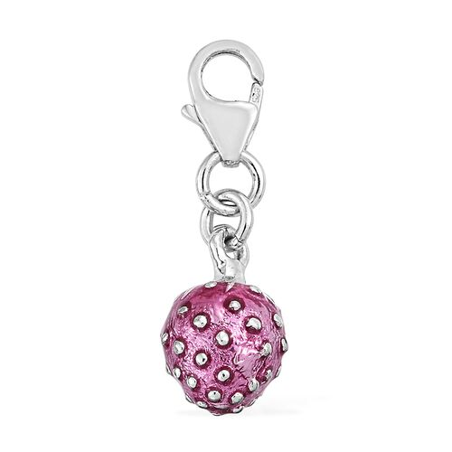 Strawberry Charm in Platinum Plated 925 Sterling Silver