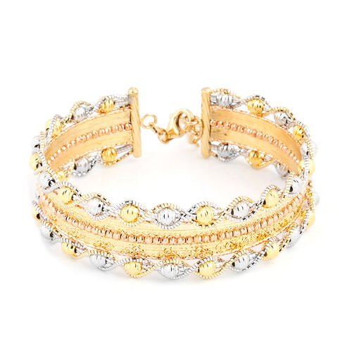 Italian Made 9K Yellow, Rose and White Gold Bangle Size 7 and 1 inch Extender 16.59 Gms