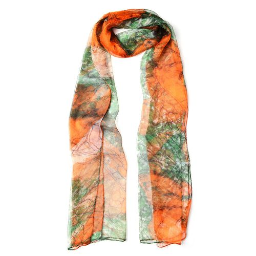 100% Mulberry Silk Green and Orange Colour Floral Printed Scarf (Size 180X50 Cm)