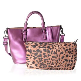 Set of 2 - 100% Genuine Leather Metallic Purple Tote Bag (Size 36x30x23.5x12.5 Cm) and Leopard Pattern Pouch (Size 28x19x10 Cm)