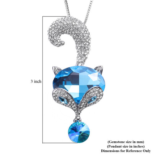 Simulated Blue Topaz, Simulated Apatite and White Austrian Crystal Fox Design Pendant With Chain (Size 30 with Extender) in Silver Tone