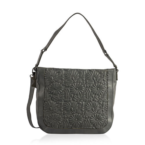 100% Super Soft New Zealand Leather Flower Quilted Grey Colour Handbag with Shoulder Strap (30x9x33