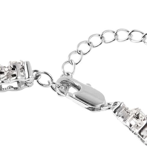 J Francis - Crystal from Swarovski White Crystal (Rnd) Floral Bracelet (Size 8) in Silver Tone